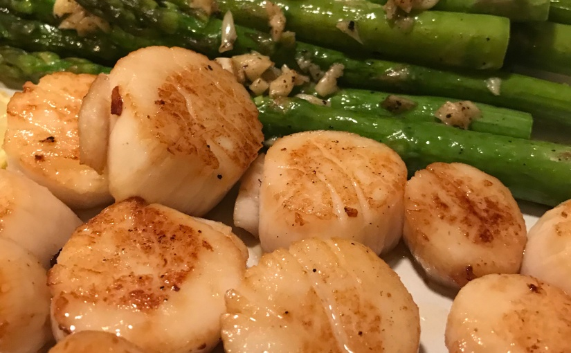 Pan Seared Wild Caught Scallops and Asparagus with Lemon Ghee Sauce